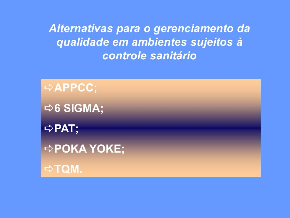 APPCC; 6 SIGMA; PAT; POKA YOKE; TQM.