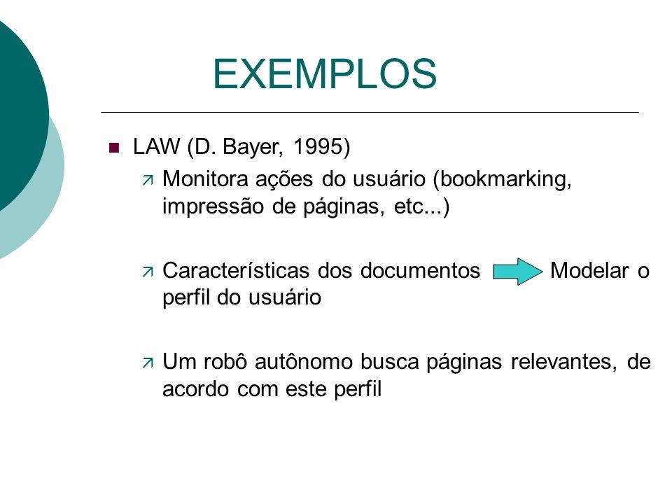 EXEMPLOS LAW (D. Bayer, 1995) Monitora ações do usuário (bookmarking, impressão de páginas, etc...)