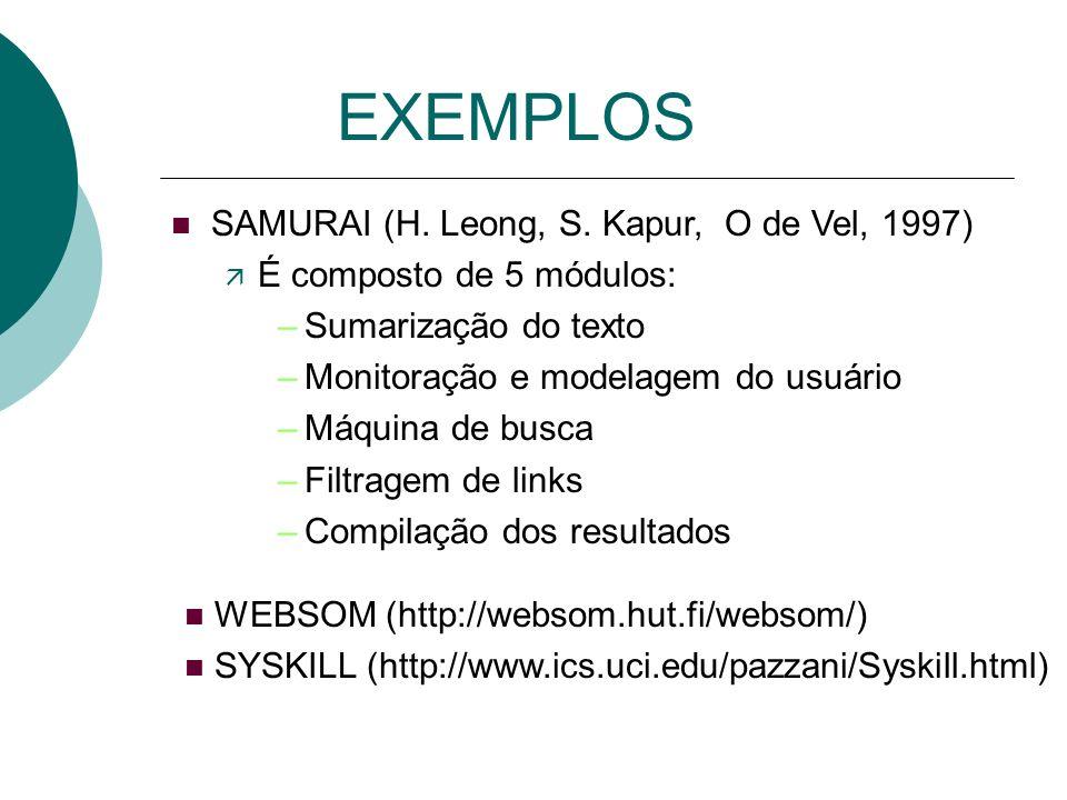 EXEMPLOS SAMURAI (H. Leong, S. Kapur, O de Vel, 1997)