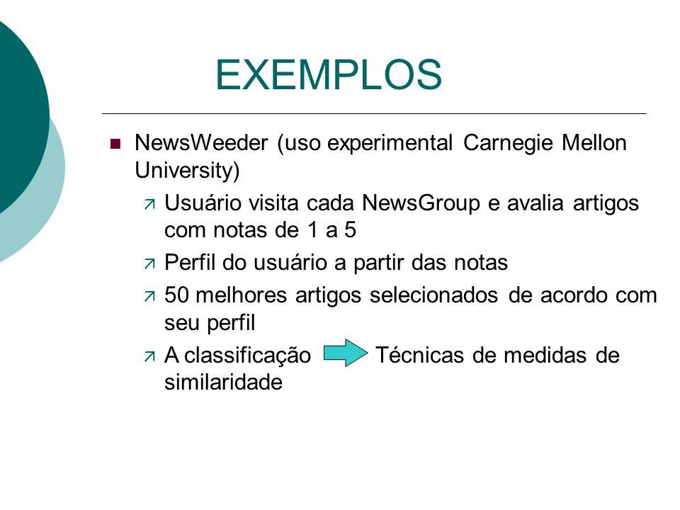 EXEMPLOS NewsWeeder (uso experimental Carnegie Mellon University)