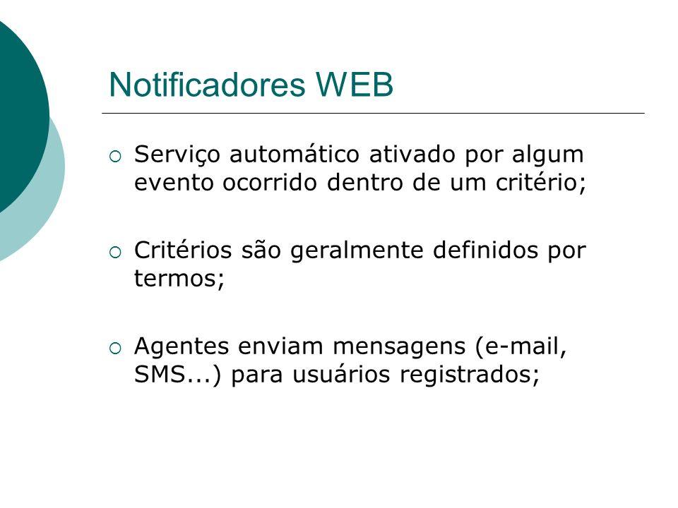 Notificadores WEB Serviço automático ativado por algum evento ocorrido dentro de um critério; Critérios são geralmente definidos por termos;