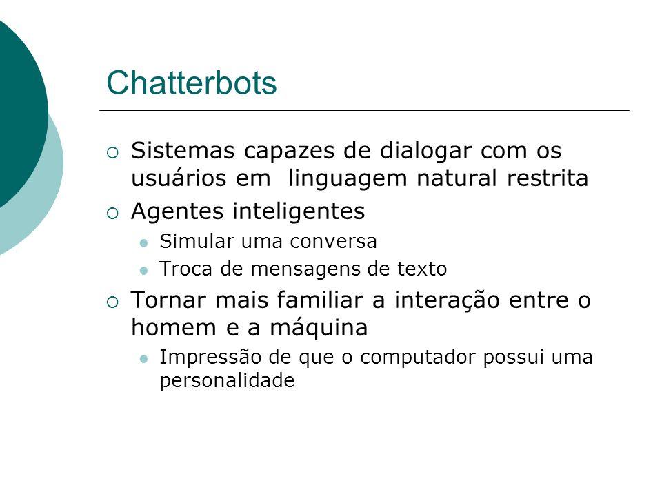 Chatterbots Sistemas capazes de dialogar com os usuários em linguagem natural restrita. Agentes inteligentes.