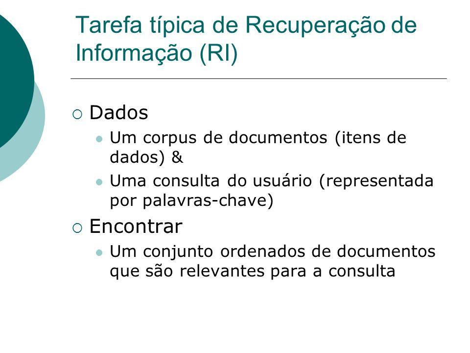 Tarefa típica de Recuperação de Informação (RI)
