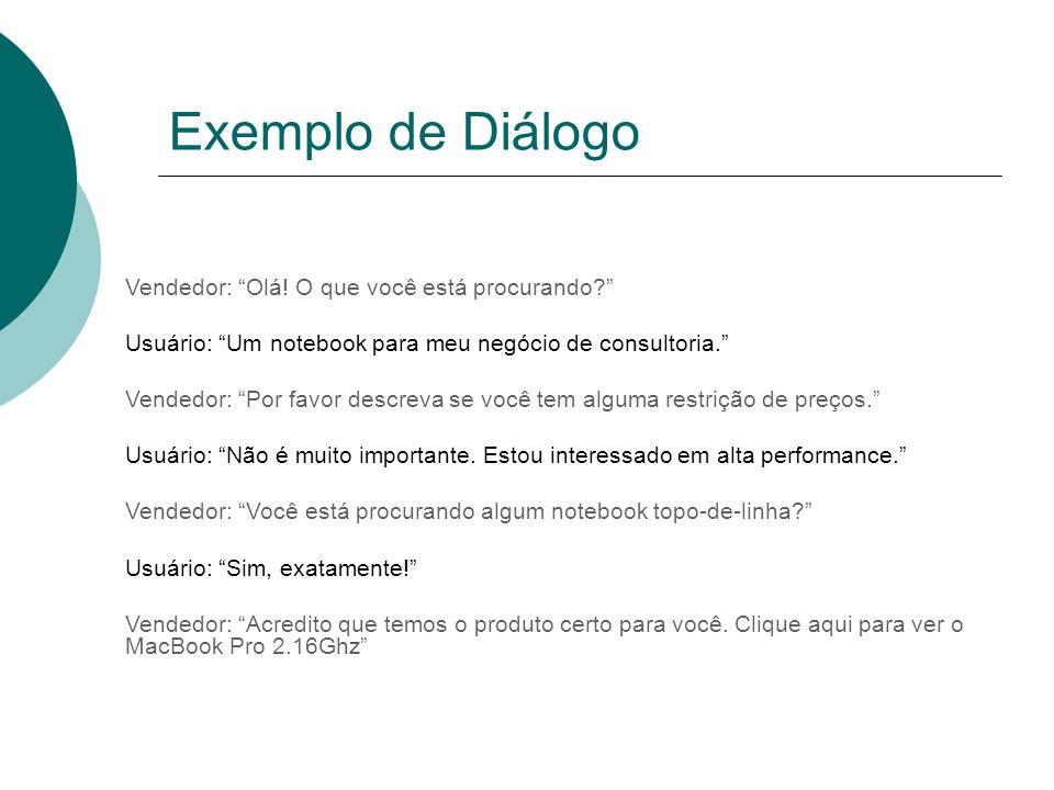 Exemplo de Diálogo Vendedor: Olá! O que você está procurando