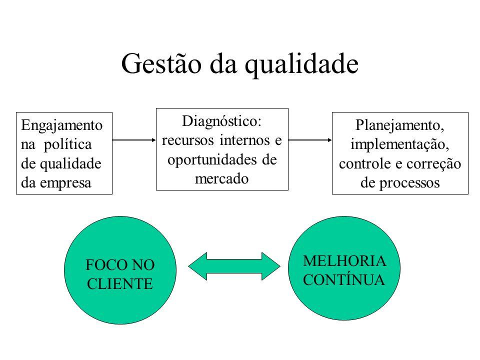 Gestão da qualidade Diagnóstico: recursos internos e oportunidades de mercado. Engajamento na política de qualidade da empresa.
