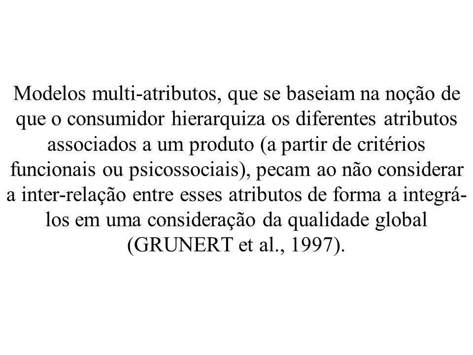 Modelos multi-atributos, que se baseiam na noção de que o consumidor hierarquiza os diferentes atributos associados a um produto (a partir de critérios funcionais ou psicossociais), pecam ao não considerar a inter-relação entre esses atributos de forma a integrá-los em uma consideração da qualidade global (GRUNERT et al., 1997).
