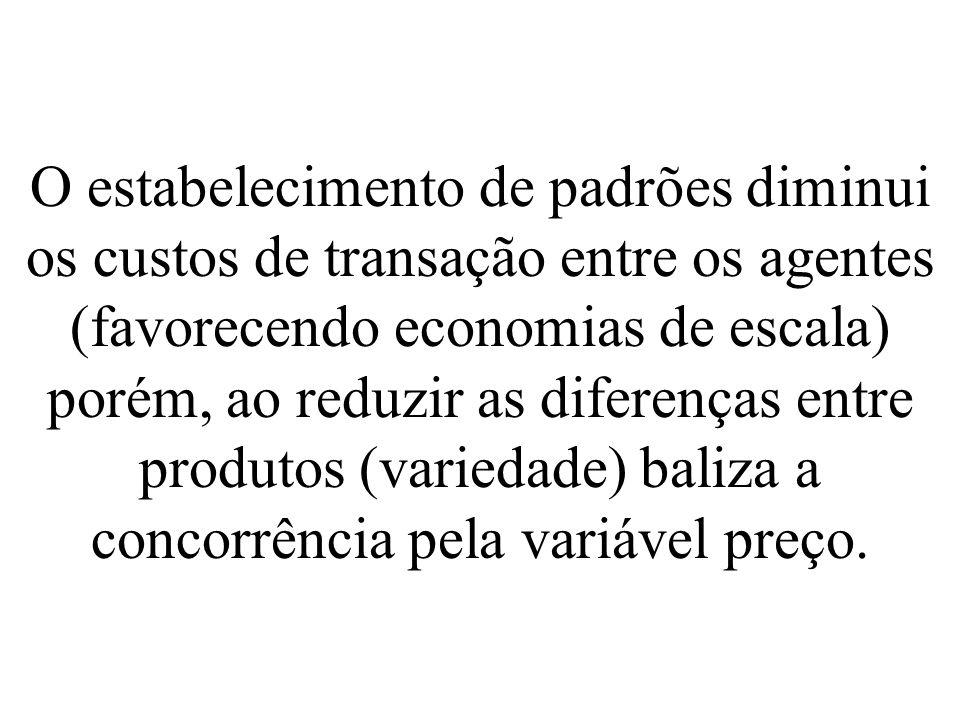 O estabelecimento de padrões diminui os custos de transação entre os agentes (favorecendo economias de escala) porém, ao reduzir as diferenças entre produtos (variedade) baliza a concorrência pela variável preço.