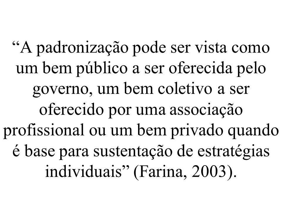 A padronização pode ser vista como um bem público a ser oferecida pelo governo, um bem coletivo a ser oferecido por uma associação profissional ou um bem privado quando é base para sustentação de estratégias individuais (Farina, 2003).