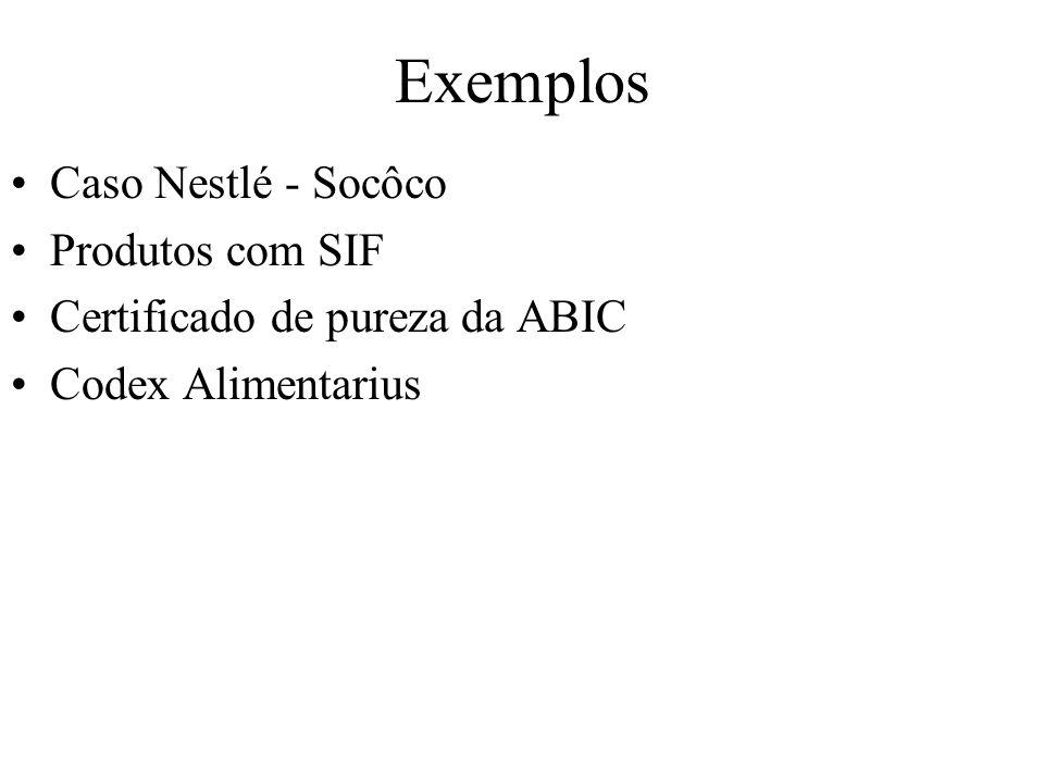 Exemplos Caso Nestlé - Socôco Produtos com SIF