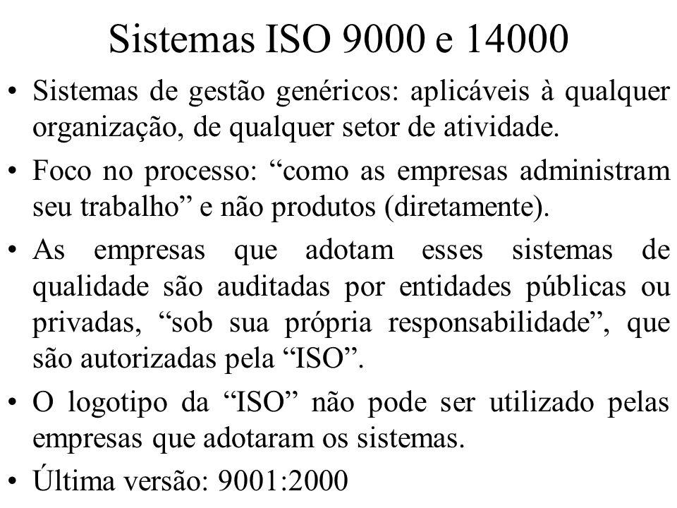 Sistemas ISO 9000 e 14000 Sistemas de gestão genéricos: aplicáveis à qualquer organização, de qualquer setor de atividade.