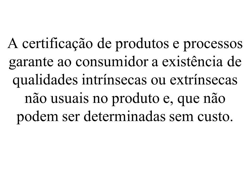 A certificação de produtos e processos garante ao consumidor a existência de qualidades intrínsecas ou extrínsecas não usuais no produto e, que não podem ser determinadas sem custo.