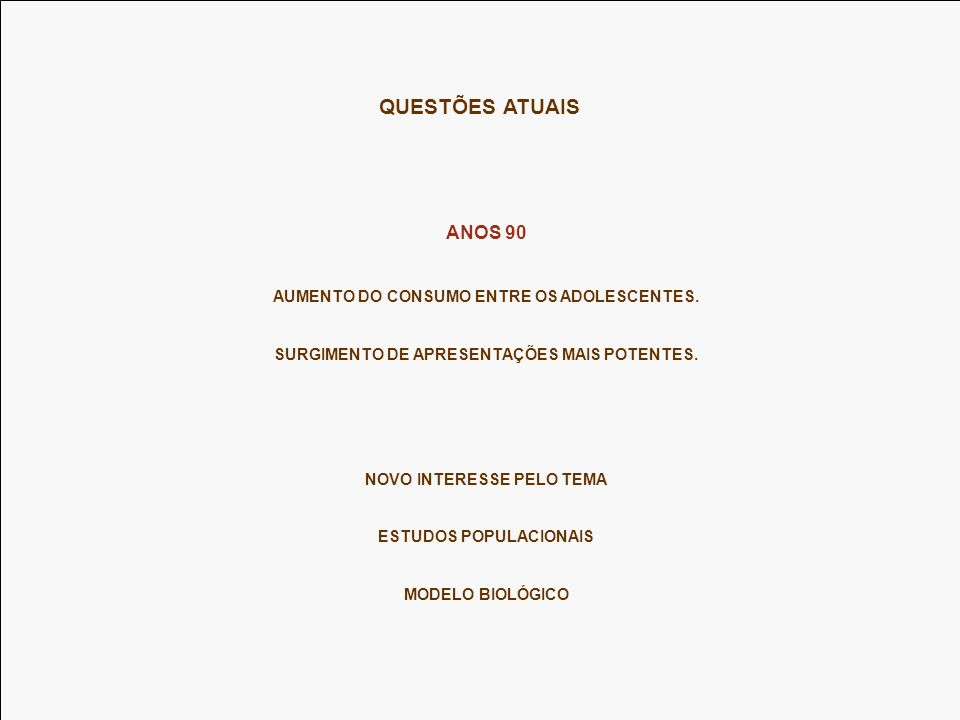 QUESTÕES ATUAIS ANOS 90 AUMENTO DO CONSUMO ENTRE OS ADOLESCENTES.