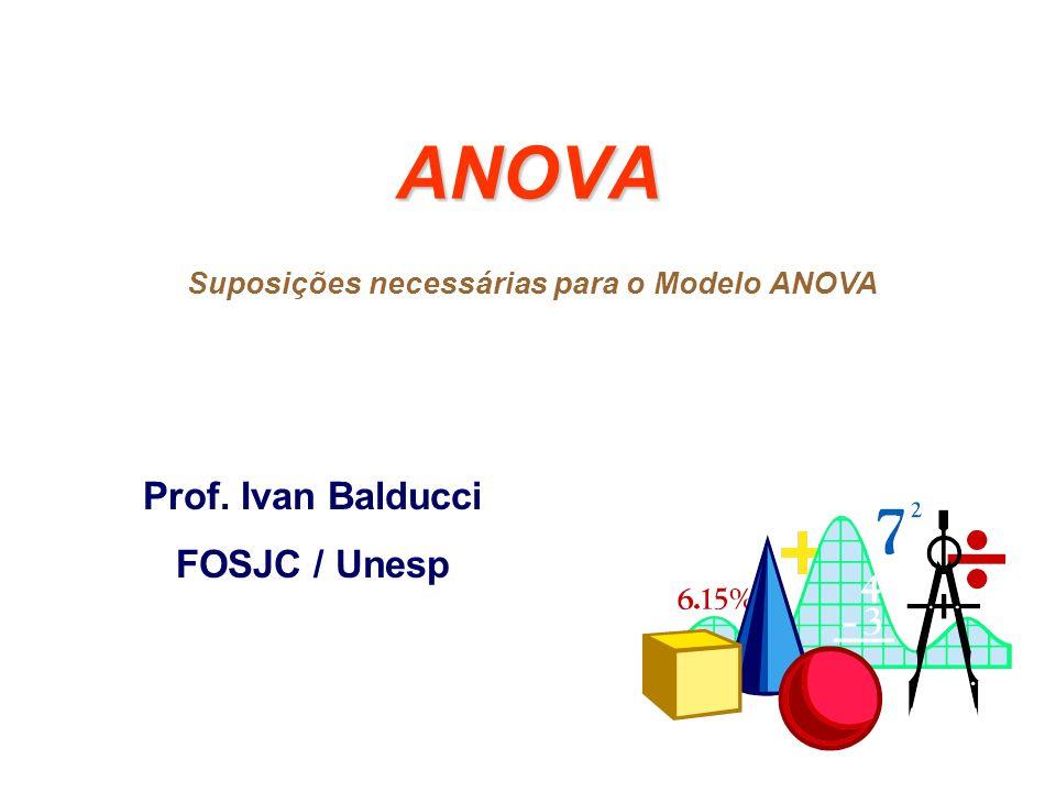 Suposições necessárias para o Modelo ANOVA