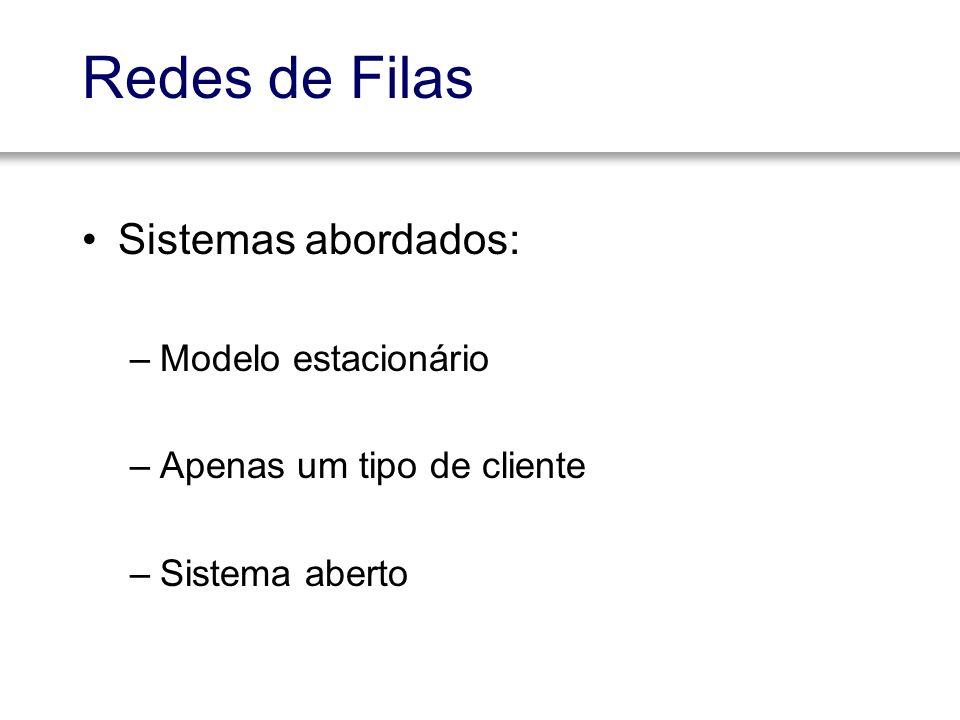 Redes de Filas Sistemas abordados: Modelo estacionário