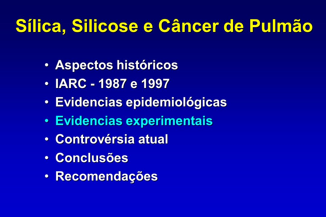 Sílica, Silicose e Câncer de Pulmão