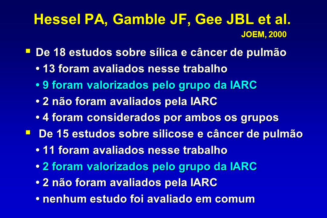 Hessel PA, Gamble JF, Gee JBL et al. JOEM, 2000