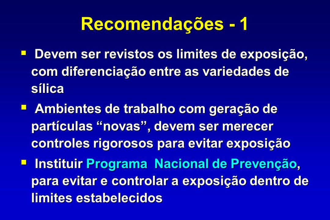 Recomendações - 1 Devem ser revistos os limites de exposição, com diferenciação entre as variedades de sílica.