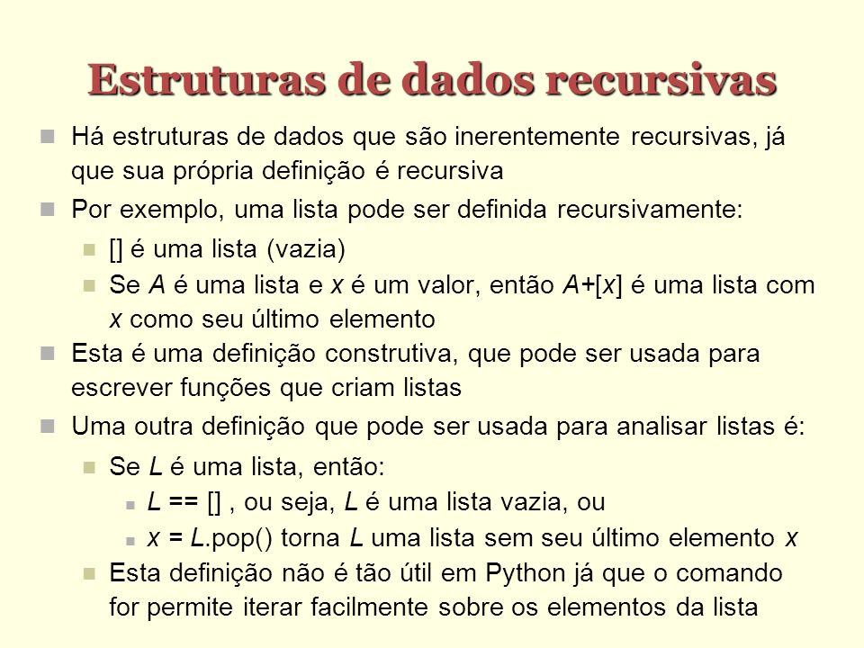 Estruturas de dados recursivas