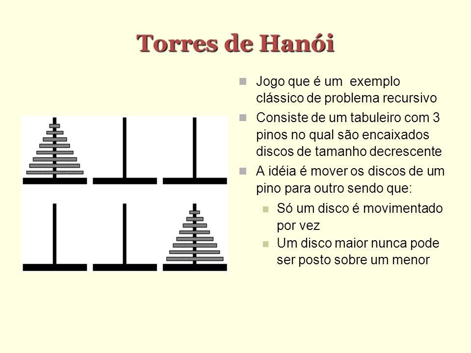 Torres de Hanói Jogo que é um exemplo clássico de problema recursivo