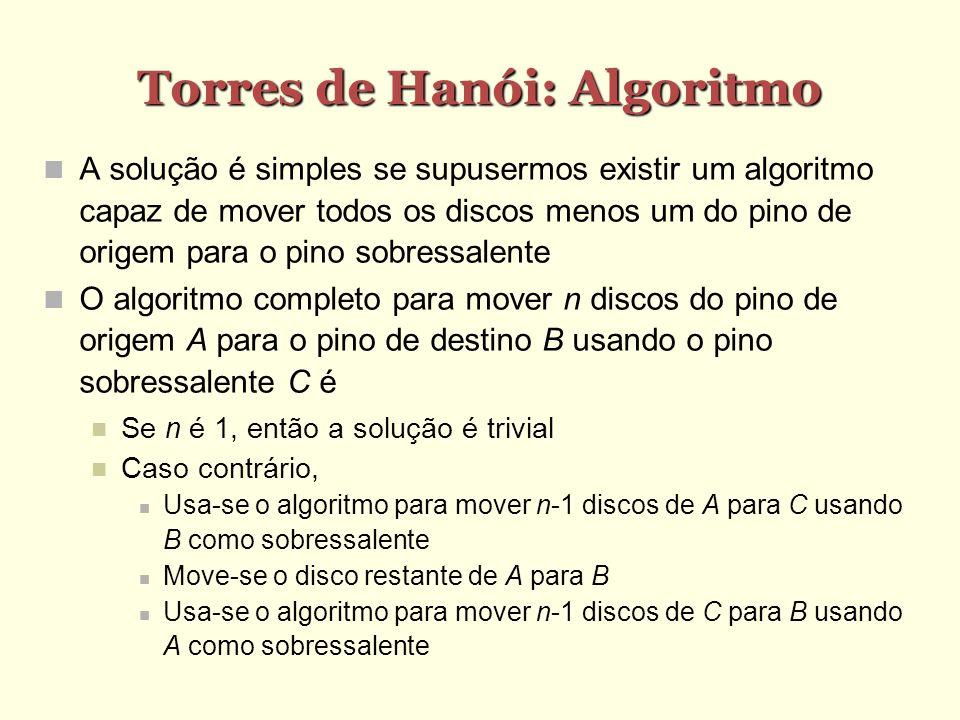 Torres de Hanói: Algoritmo