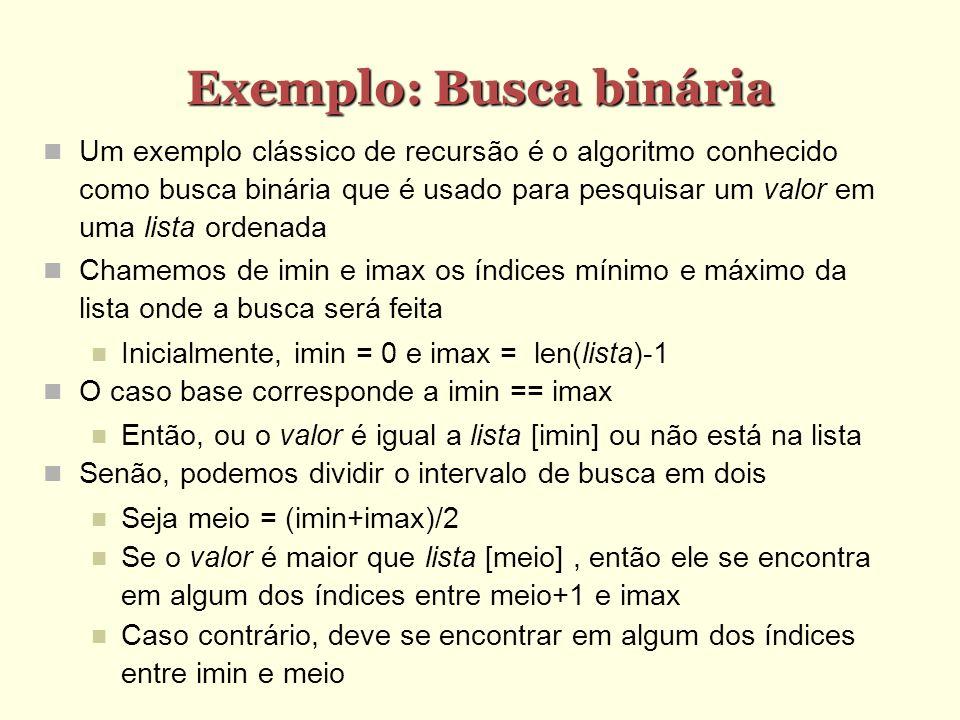 Exemplo: Busca binária