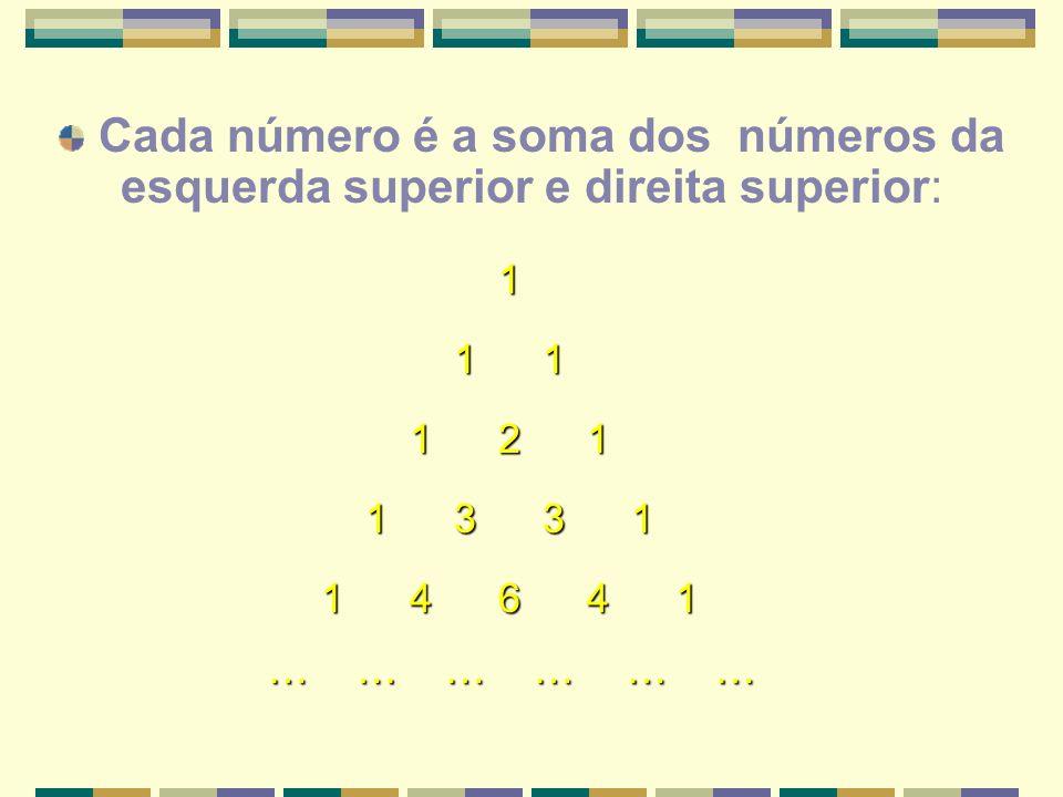 Cada número é a soma dos números da esquerda superior e direita superior: