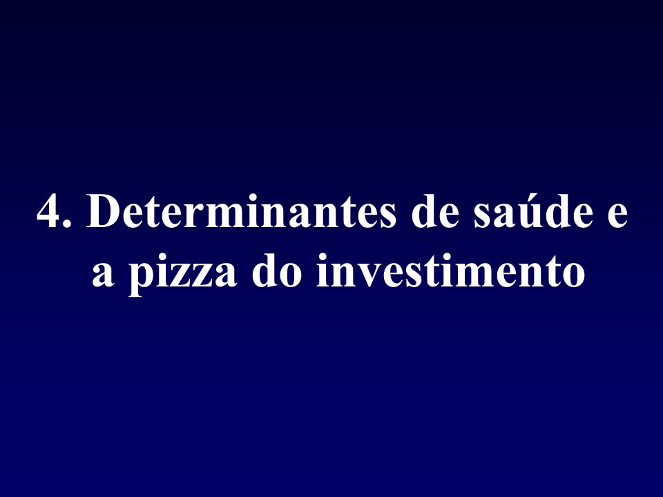 4. Determinantes de saúde e a pizza do investimento