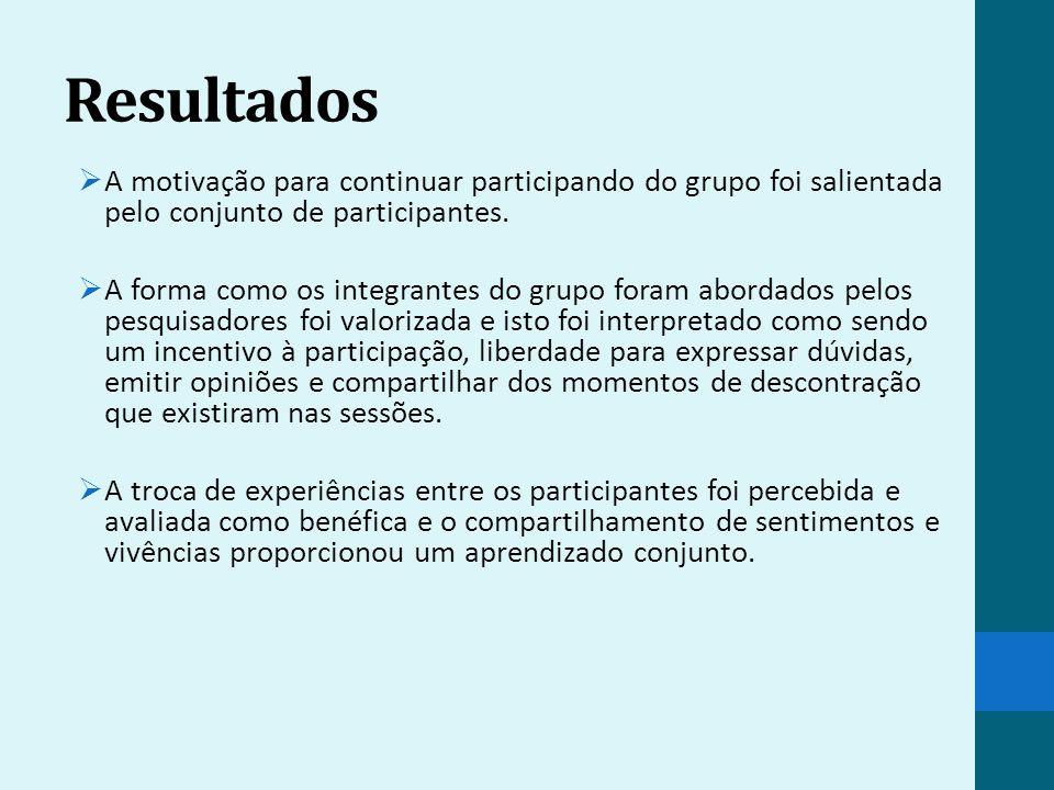 Resultados A motivação para continuar participando do grupo foi salientada pelo conjunto de participantes.