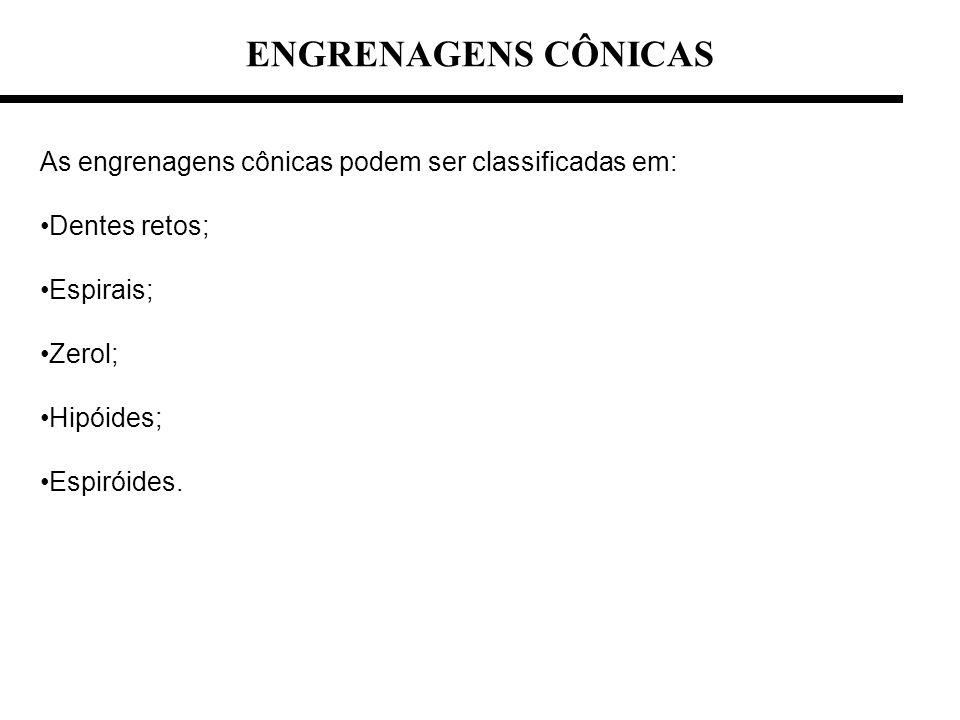 ENGRENAGENS CÔNICAS As engrenagens cônicas podem ser classificadas em: