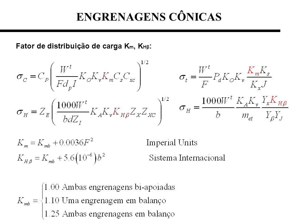ENGRENAGENS CÔNICAS Fator de distribuição de carga Km, KHβ: