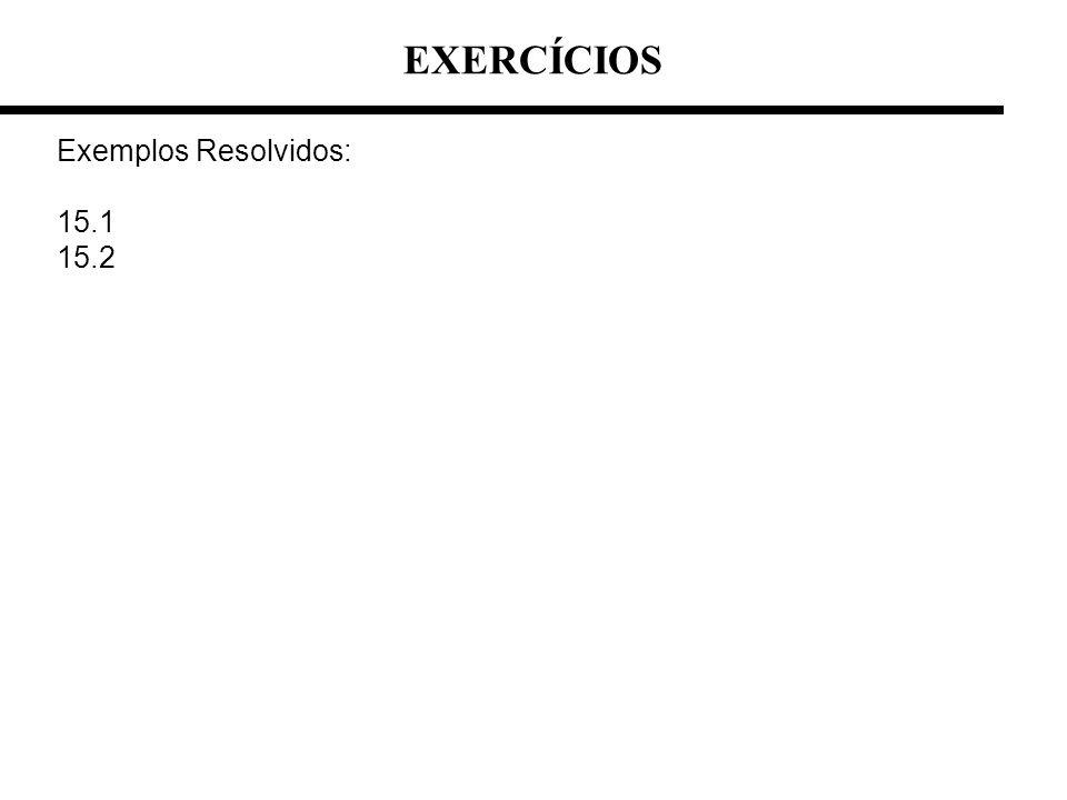 EXERCÍCIOS Exemplos Resolvidos: 15.1 15.2