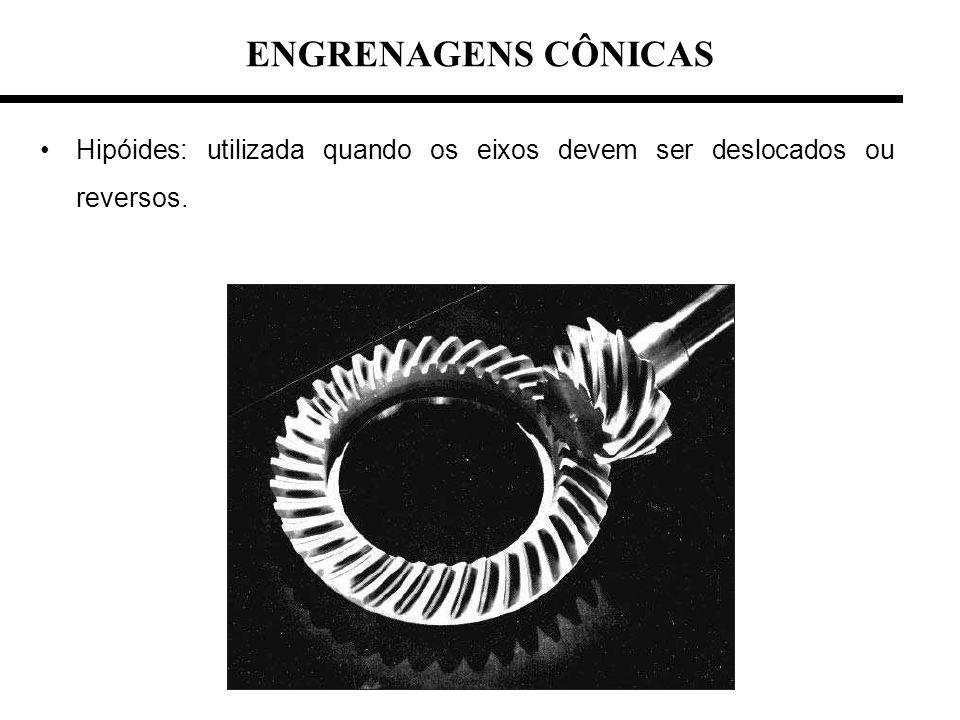 ENGRENAGENS CÔNICAS Hipóides: utilizada quando os eixos devem ser deslocados ou reversos.