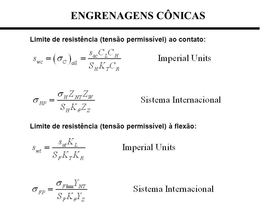 ENGRENAGENS CÔNICAS Limite de resistência (tensão permissível) ao contato: Limite de resistência (tensão permissível) à flexão:
