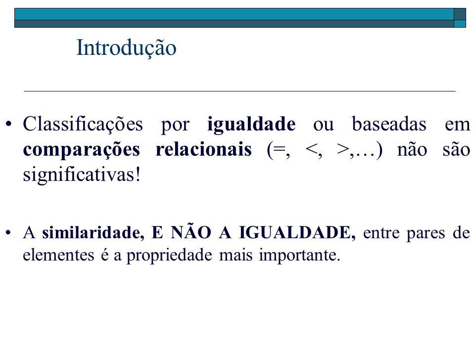 Introdução Classificações por igualdade ou baseadas em comparações relacionais (=, <, >,…) não são significativas!