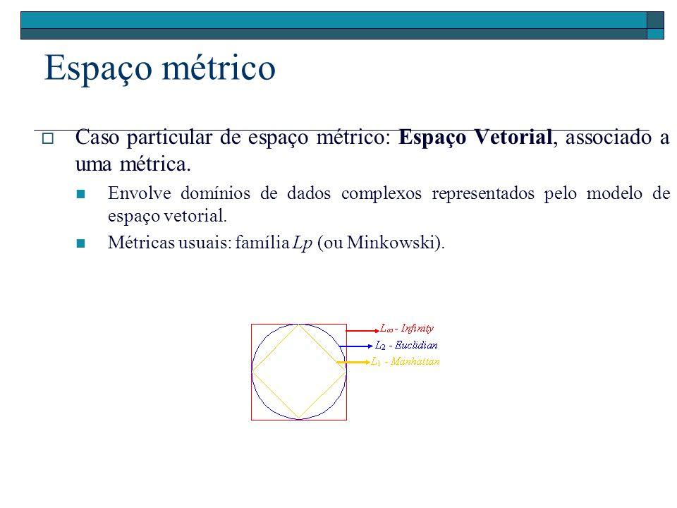 Espaço métrico Caso particular de espaço métrico: Espaço Vetorial, associado a uma métrica.