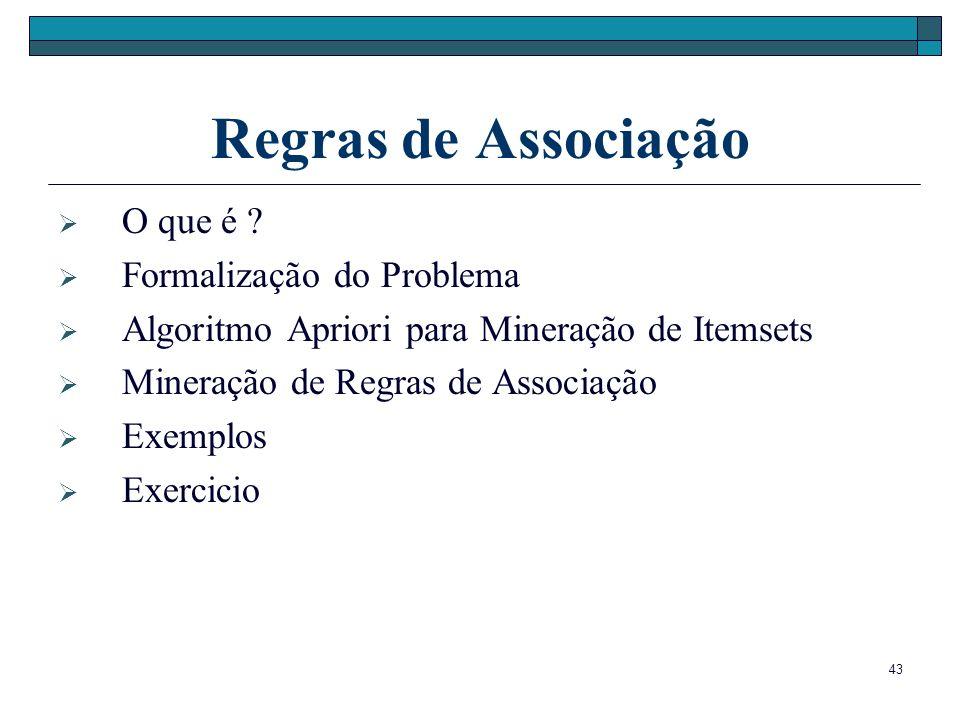 Regras de Associação O que é Formalização do Problema