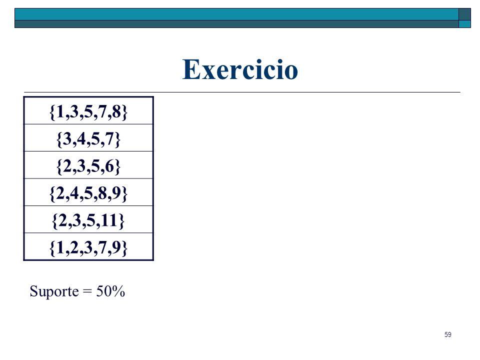 Exercicio {1,3,5,7,8} {3,4,5,7} {2,3,5,6} {2,4,5,8,9} {2,3,5,11} {1,2,3,7,9} Suporte = 50%