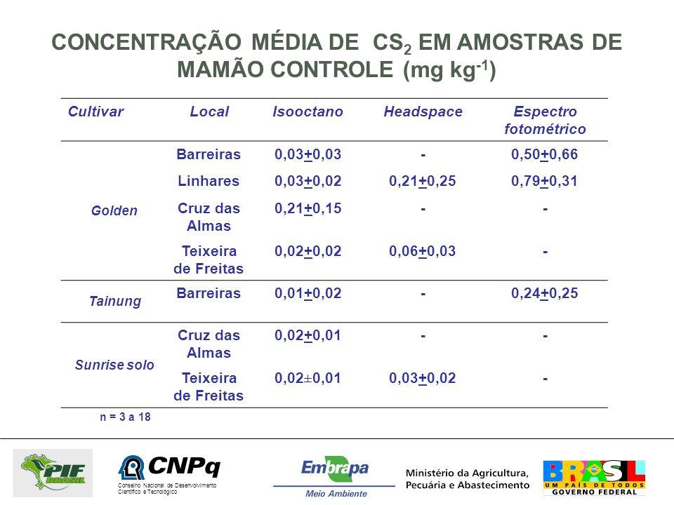 CONCENTRAÇÃO MÉDIA DE CS2 EM AMOSTRAS DE MAMÃO CONTROLE (mg kg-1)
