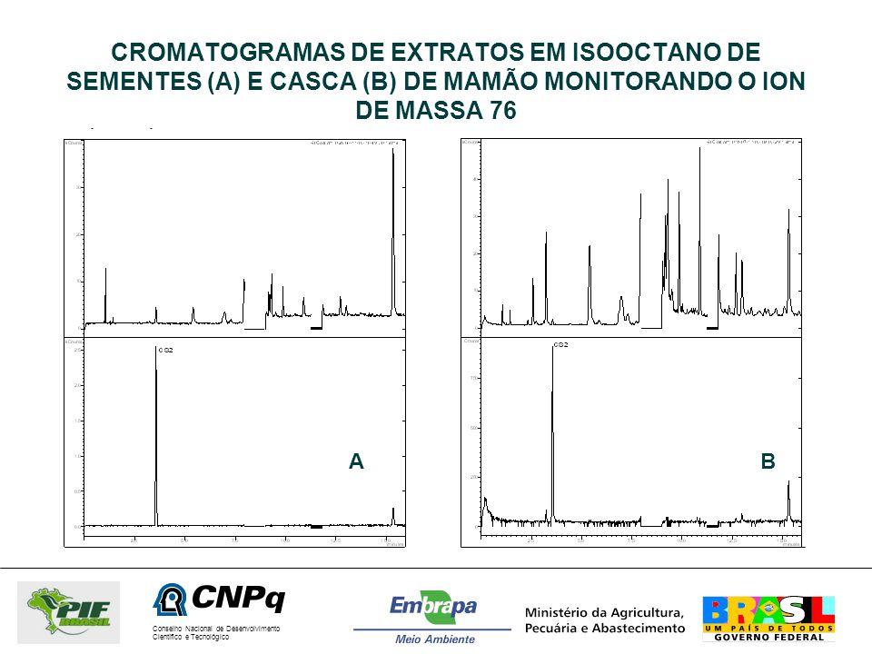 CROMATOGRAMAS DE EXTRATOS EM ISOOCTANO DE SEMENTES (A) E CASCA (B) DE MAMÃO MONITORANDO O ION DE MASSA 76