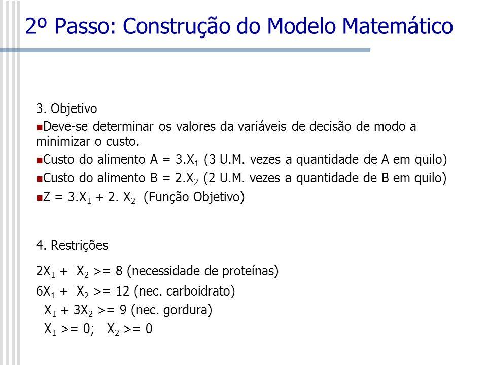 2º Passo: Construção do Modelo Matemático