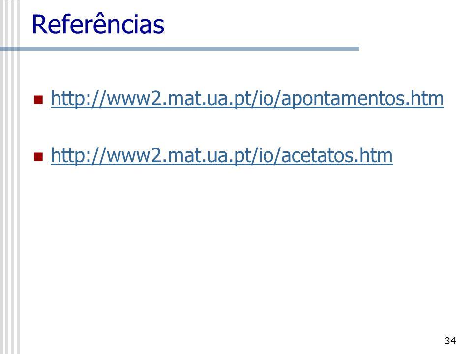 Referências http://www2.mat.ua.pt/io/apontamentos.htm