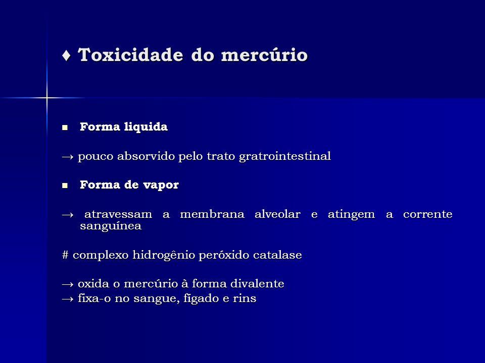 ♦ Toxicidade do mercúrio