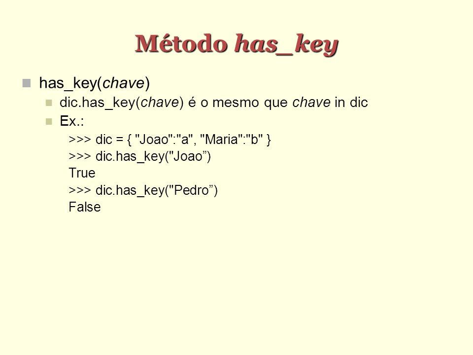 Método has_key has_key(chave)