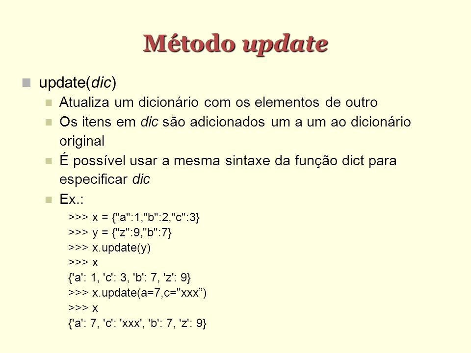 Método update update(dic)