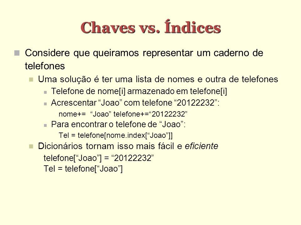 Chaves vs. Índices Considere que queiramos representar um caderno de telefones. Uma solução é ter uma lista de nomes e outra de telefones.