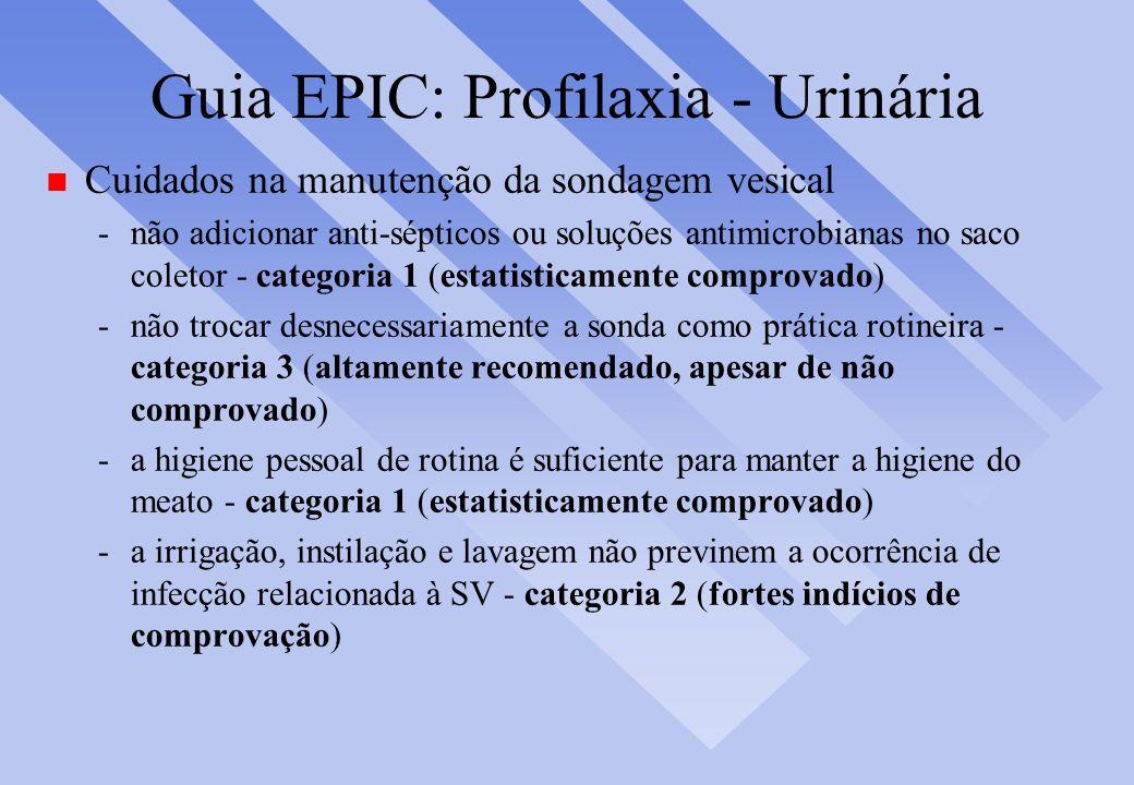 Guia EPIC: Profilaxia - Urinária