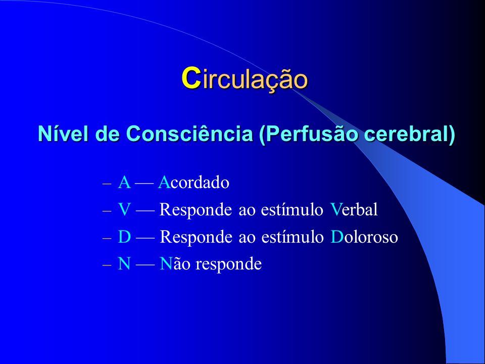 Circulação Nível de Consciência (Perfusão cerebral) A — Acordado
