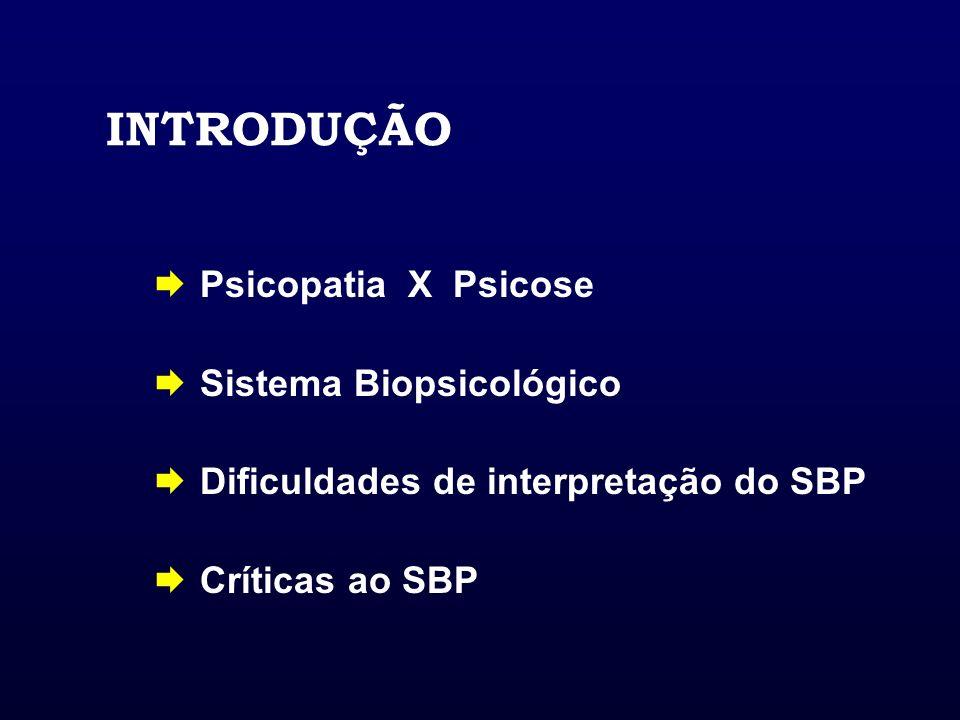 INTRODUÇÃO Psicopatia X Psicose Sistema Biopsicológico