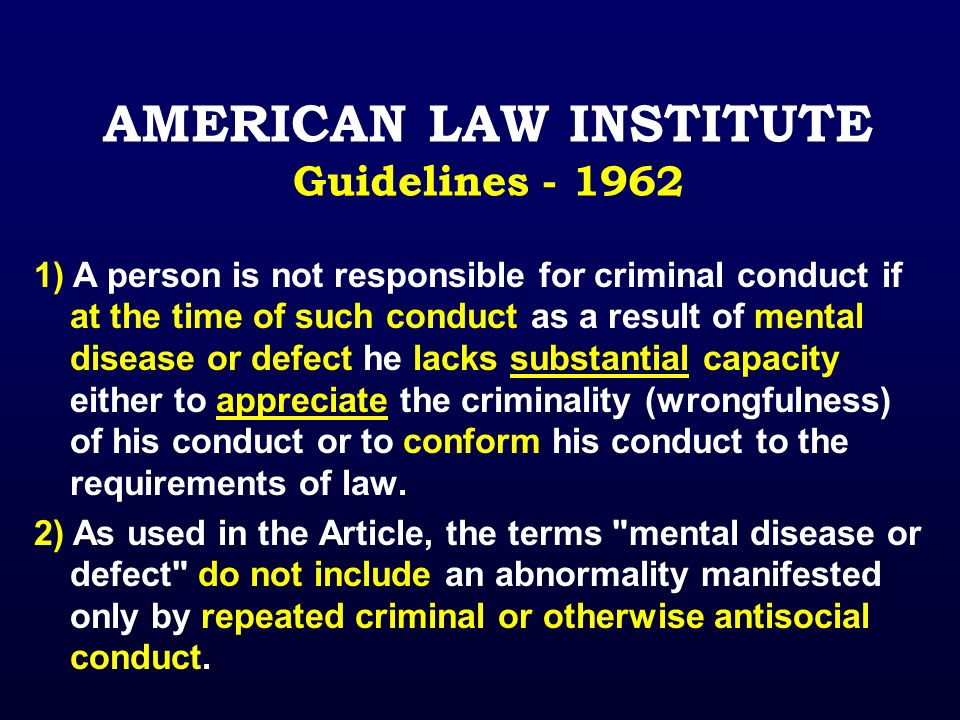 AMERICAN LAW INSTITUTE Guidelines - 1962