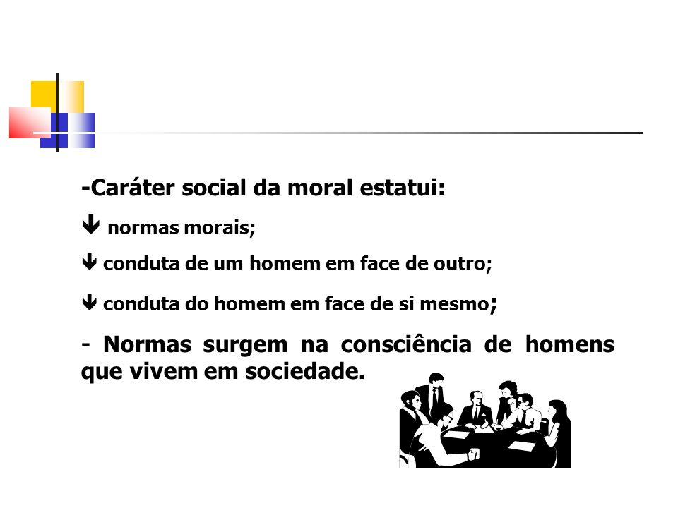 -Caráter social da moral estatui:  normas morais;
